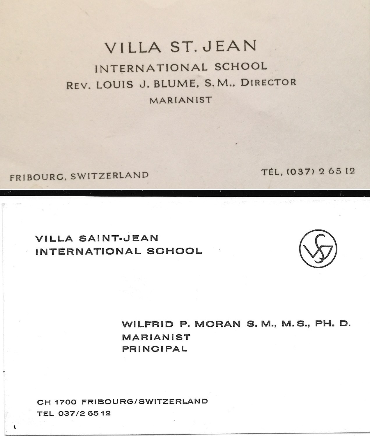 Business Cards for Louis Blue and Wilfrid Moran
