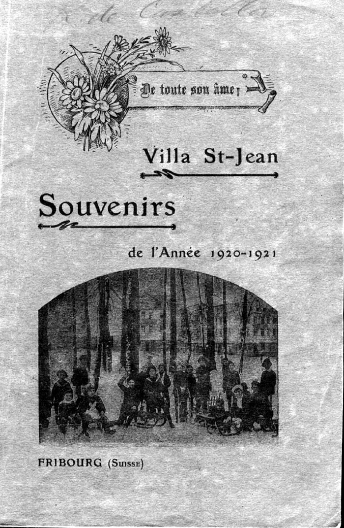Historical Photo of front cover of  Villa Saint Jean School 1921 yearbook