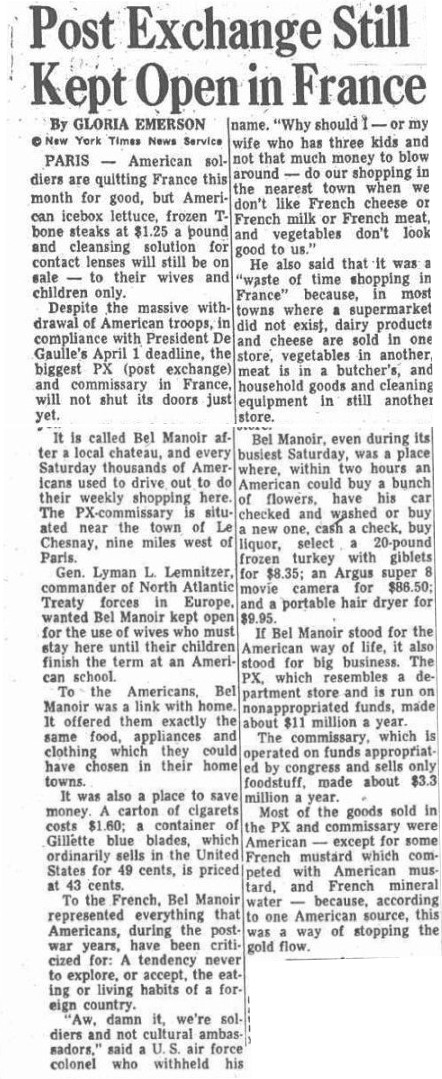 Image: New York Times Article on Closing of Bel Monoir PX Facility circa 1967