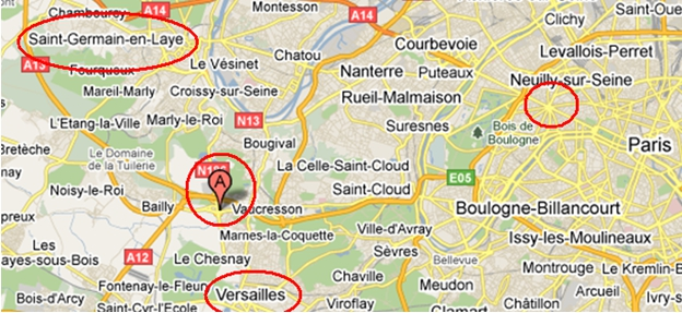 Photo:Google Map of Paris identifying locations of SHAPE facilities