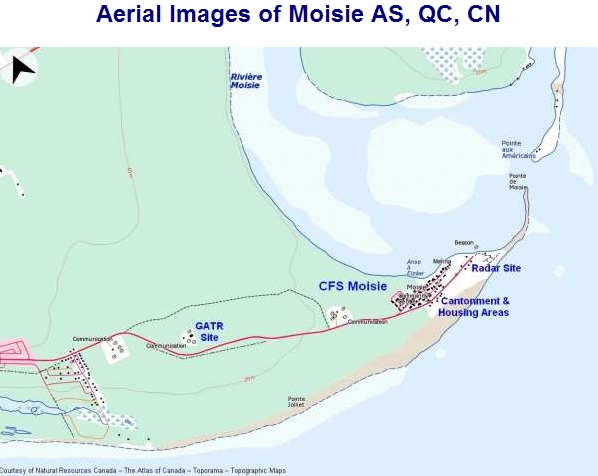 Graphic Aerial Map of RCAF Moisie and associated GATOR computer site
