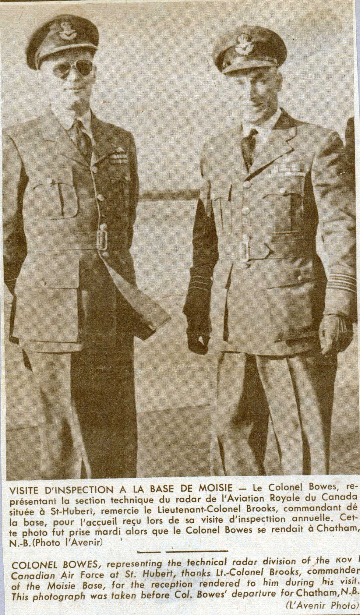 Photo: Colonel Bowes Inspection of RCAF Moisie, W/C Hubert Brooksalso in photo