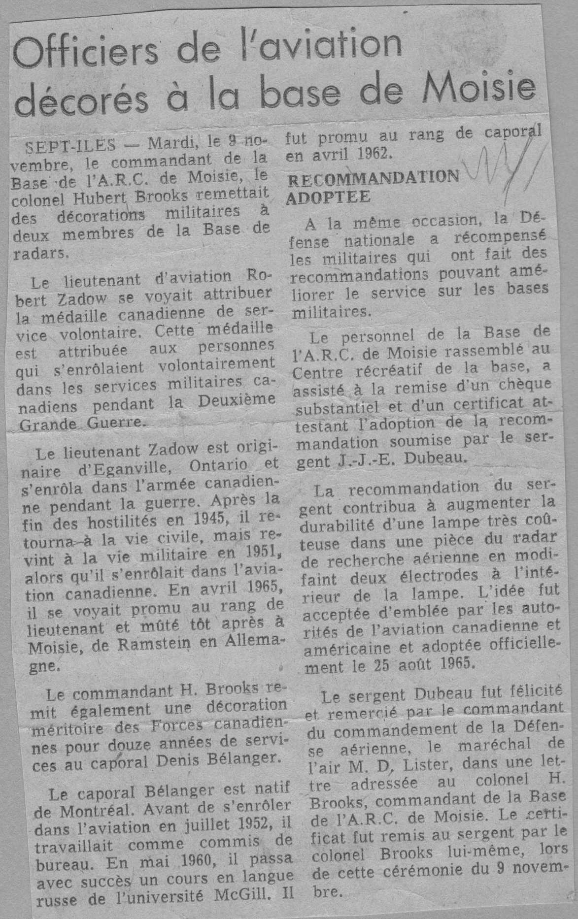 Photo: L'Avenir News Article on Officer Decorations at RCAF Moisie