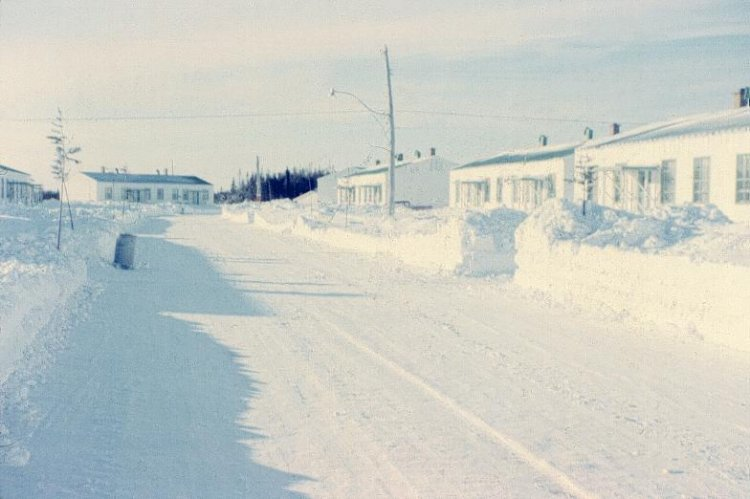Photo: Married Quarters Street at RCAF Moisie  In Winter