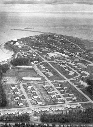 Photo: aerial view of  RCAF Moisie