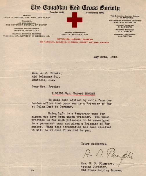 Letter from Red Cross to Hubert Brooks' mother stating he was a PoW in Stalag Luft.