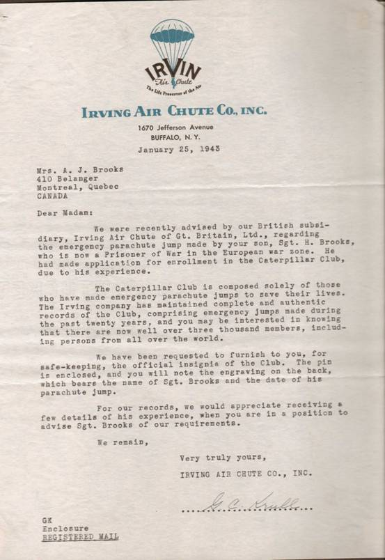 Letter from Irving Parachute Company to Hubert Brooks' mother stating he was now a member of the Caterpillar Club.