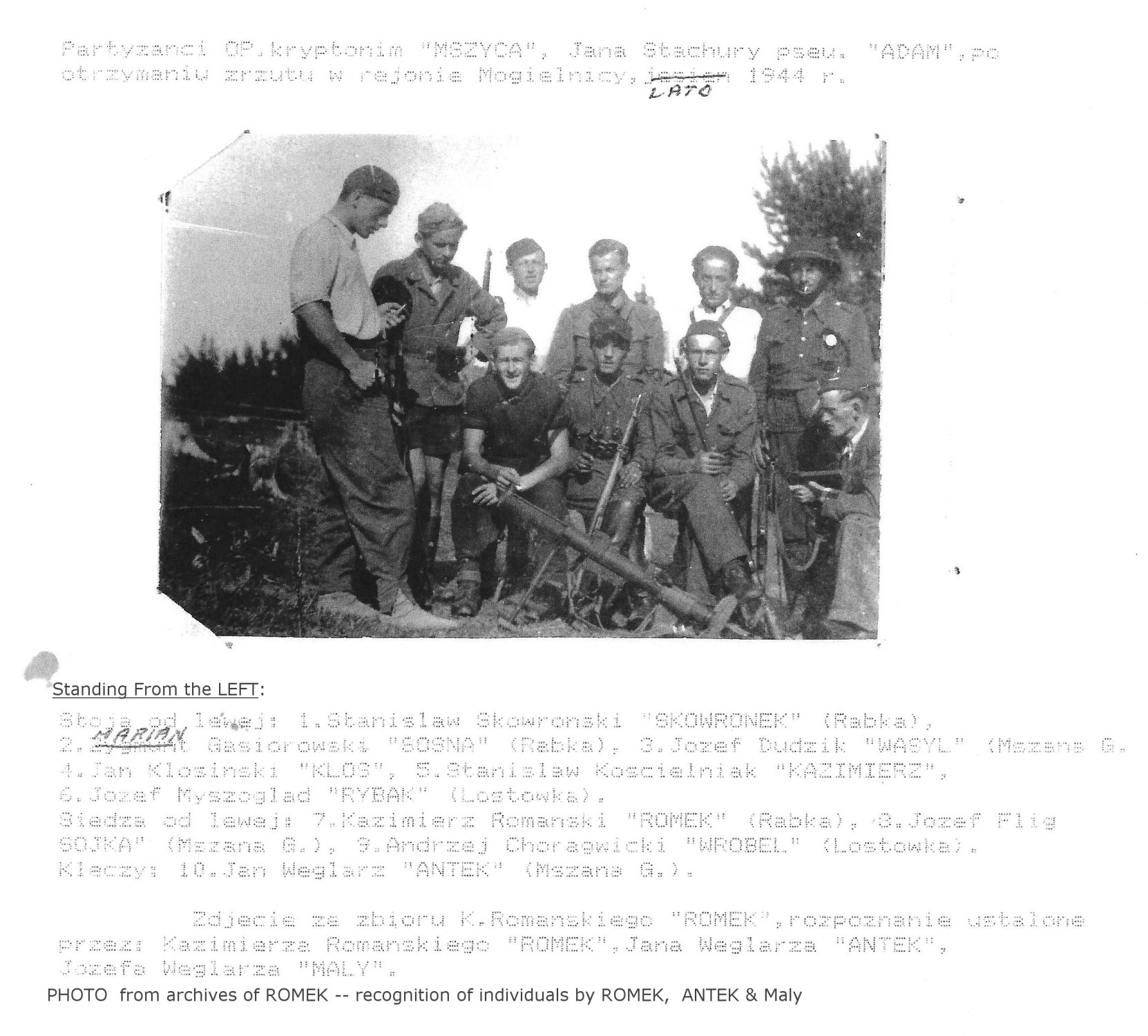 Photo: MSZYCA Unit Partisans after receiving an Airdrop in Mogielnica  Summer 1944
