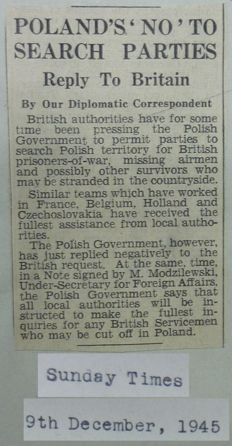 Image of Sunday Dec 9 1945 News Article re Poland Saying NO to British Search Teams Looking for missing POWs