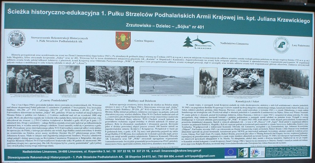 Image of Zrzutowisko Information Board Referencing Hubert Brooks on Tymbark Poland  remembrance trail commemorating  the Polish Home Army during WW 2