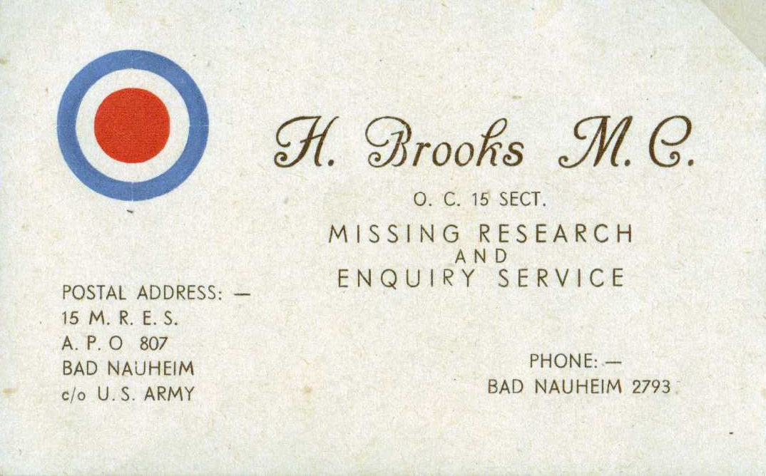 IMAGE: Hubert Brooks Business Card while with 15 MRES in Bad Nauheim Germany