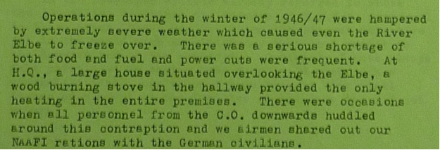 IMAGE: Comment from MRES Records as to record cold in Germany winter 1946/47