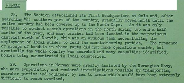Extract from Page 17 of MRES Report Air 55/65 on Norway