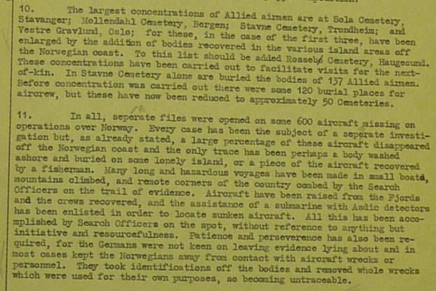 Extract from MRES Report Air 2/7939 on Norway