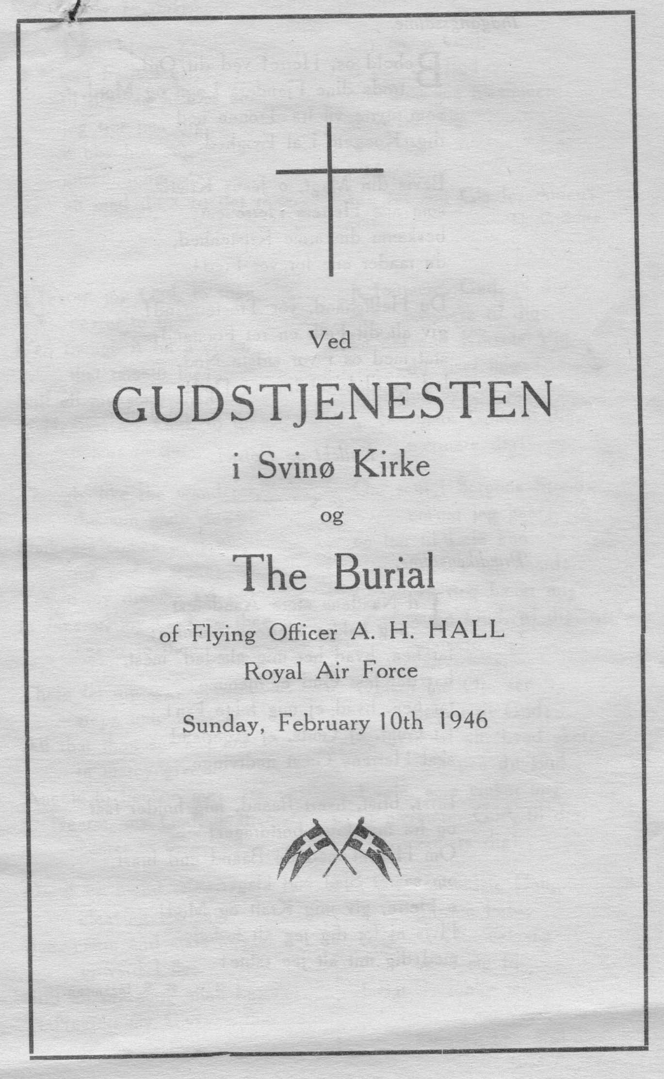 Image Front Page of Program for Funeral of RAF Airman A.H. Hall