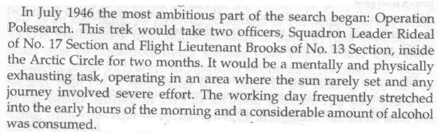 Image of extract from book Missing Believed Killed on subject Operation Polesearch