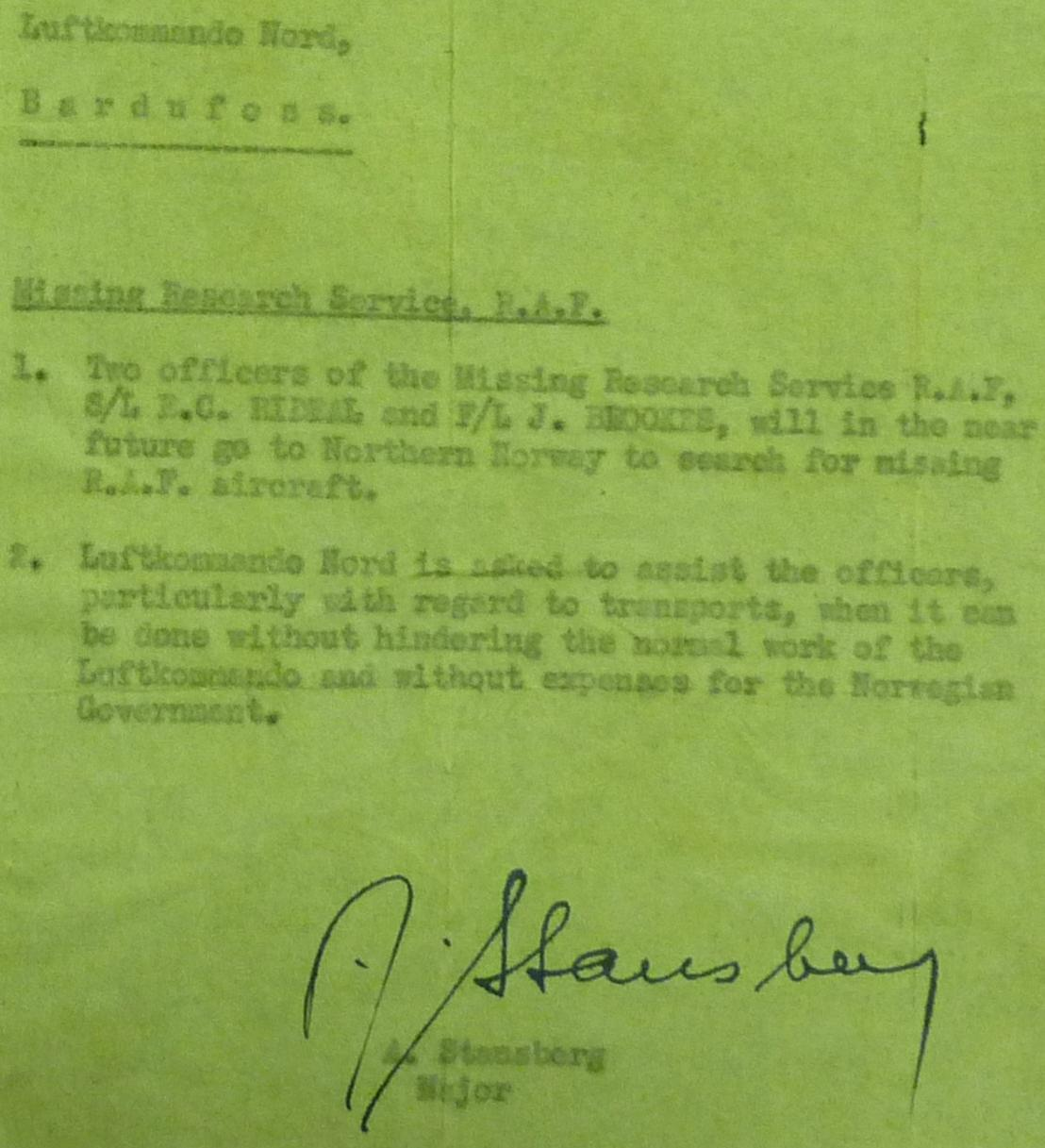 Norwegian Memo to Luftcommando Nord requesting assistance be given to Rideal and Brooks