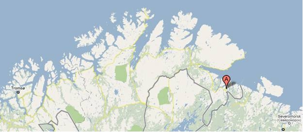 Image of map shopwing location of Kirkenes Norway