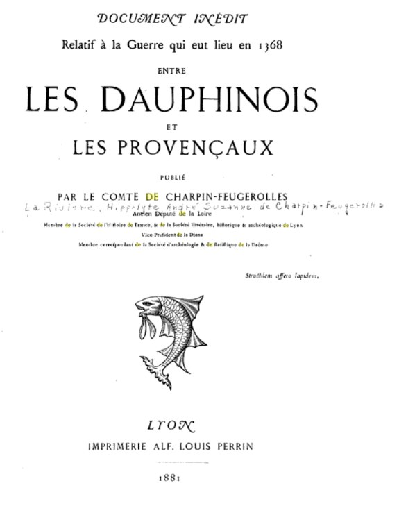 Image of Cover Page of 1881 book by Comte Charpin-Feuguerolles