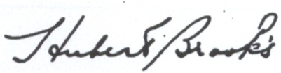 Image of Hubert Brooks signature showing the apostraphe s