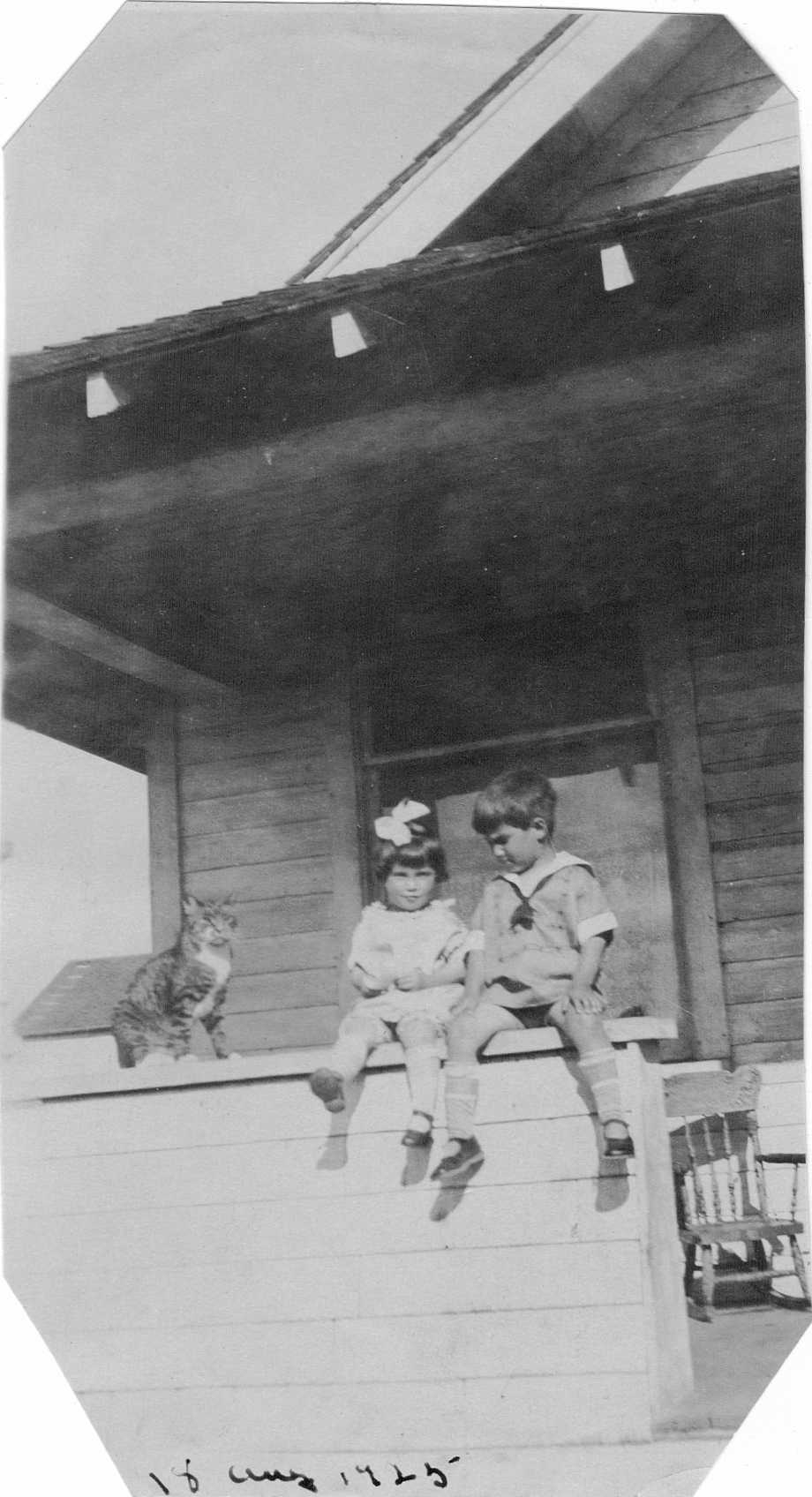 August 18, 1925 Doris and Hubert Brooks on Porch with Cat