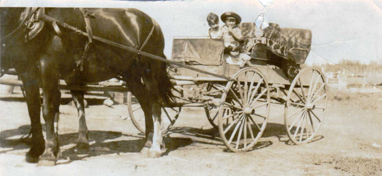 Hubert and Doris Brooks in Horse Drawn Wagon