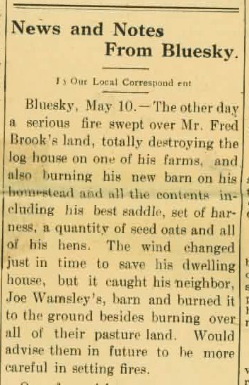 Fire at Fred Brooks Homestead may 10 1923