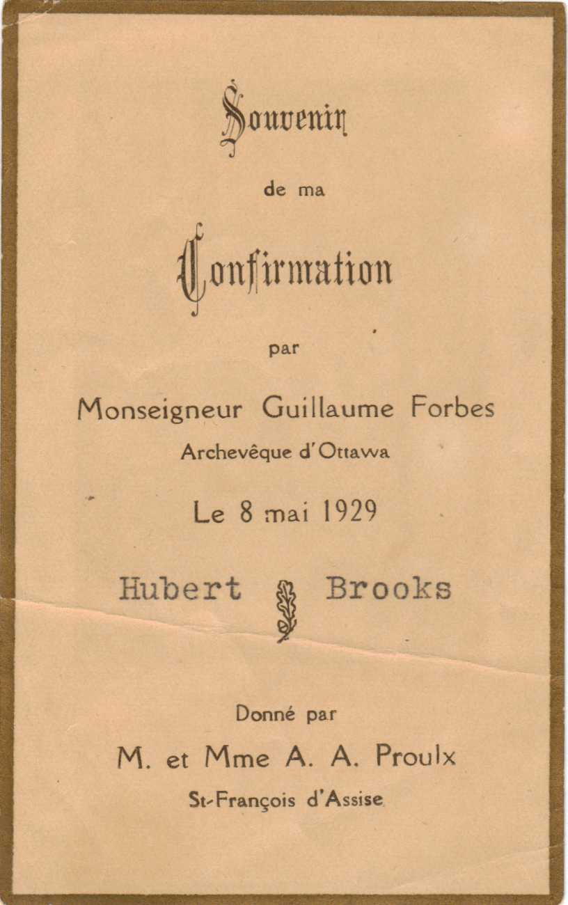 PHOTO Hubert Brooks Confirmation Card from