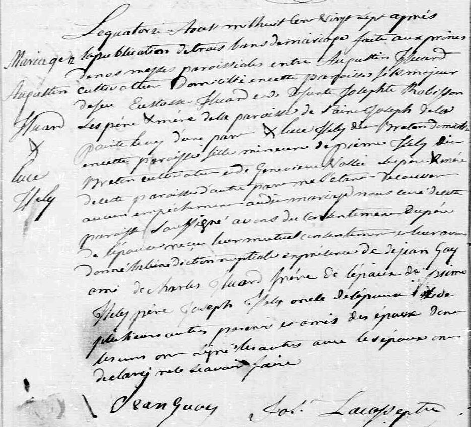 Marriage Certificate forAugustin HUARD and Luce