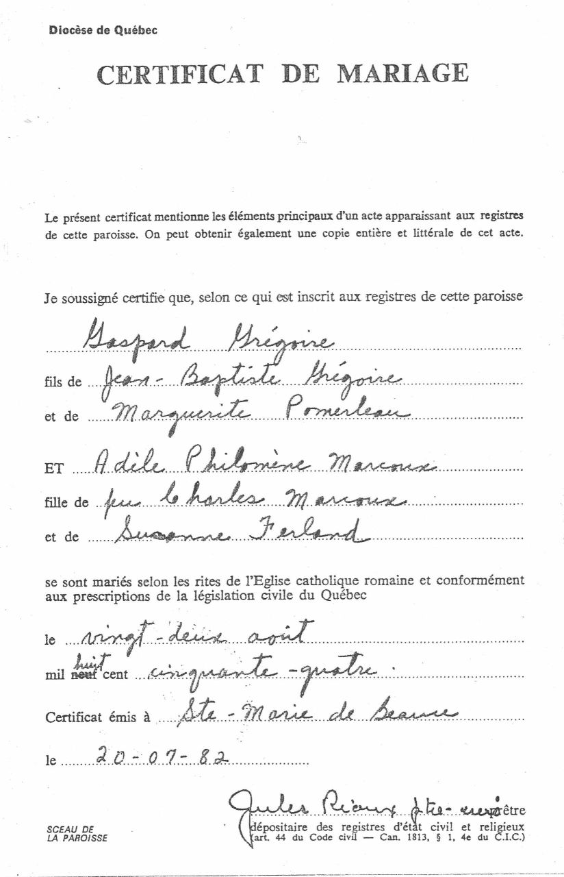 Gaspard and Fanny Gregoire Marriage Certificate