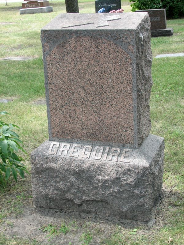 Grégoire Tombstone Calvary Cemetery Grand Forks ND
