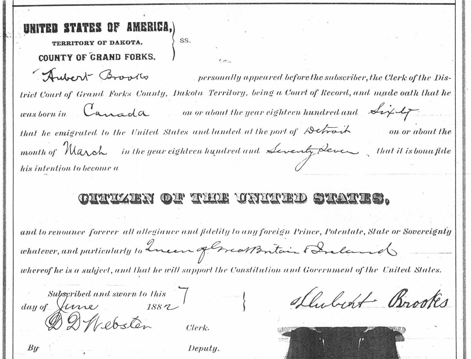 Hubert Brooks 1st filing for US Naturalization