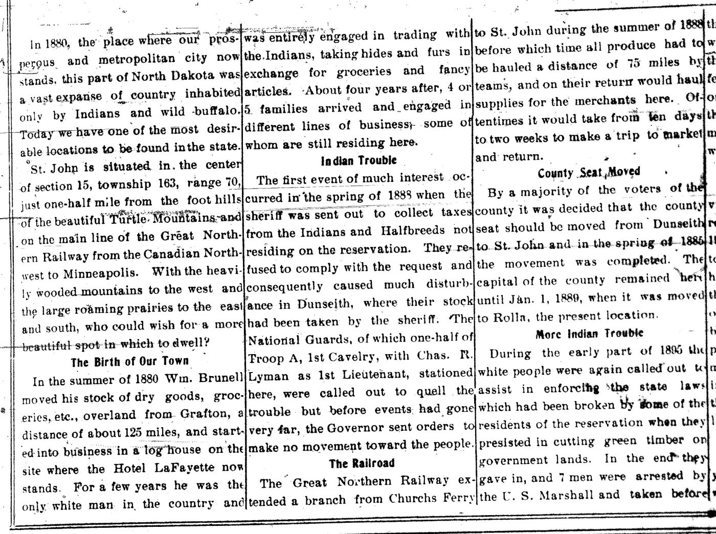 A January 1907 Retrospective of the Founding of the Village of St. John
