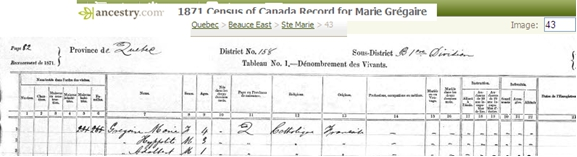 Image of potion of 1871 US Census on Marie Gregoire