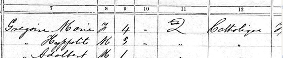 Image 2 of potion of 1871 US Census on Marie Gregoire