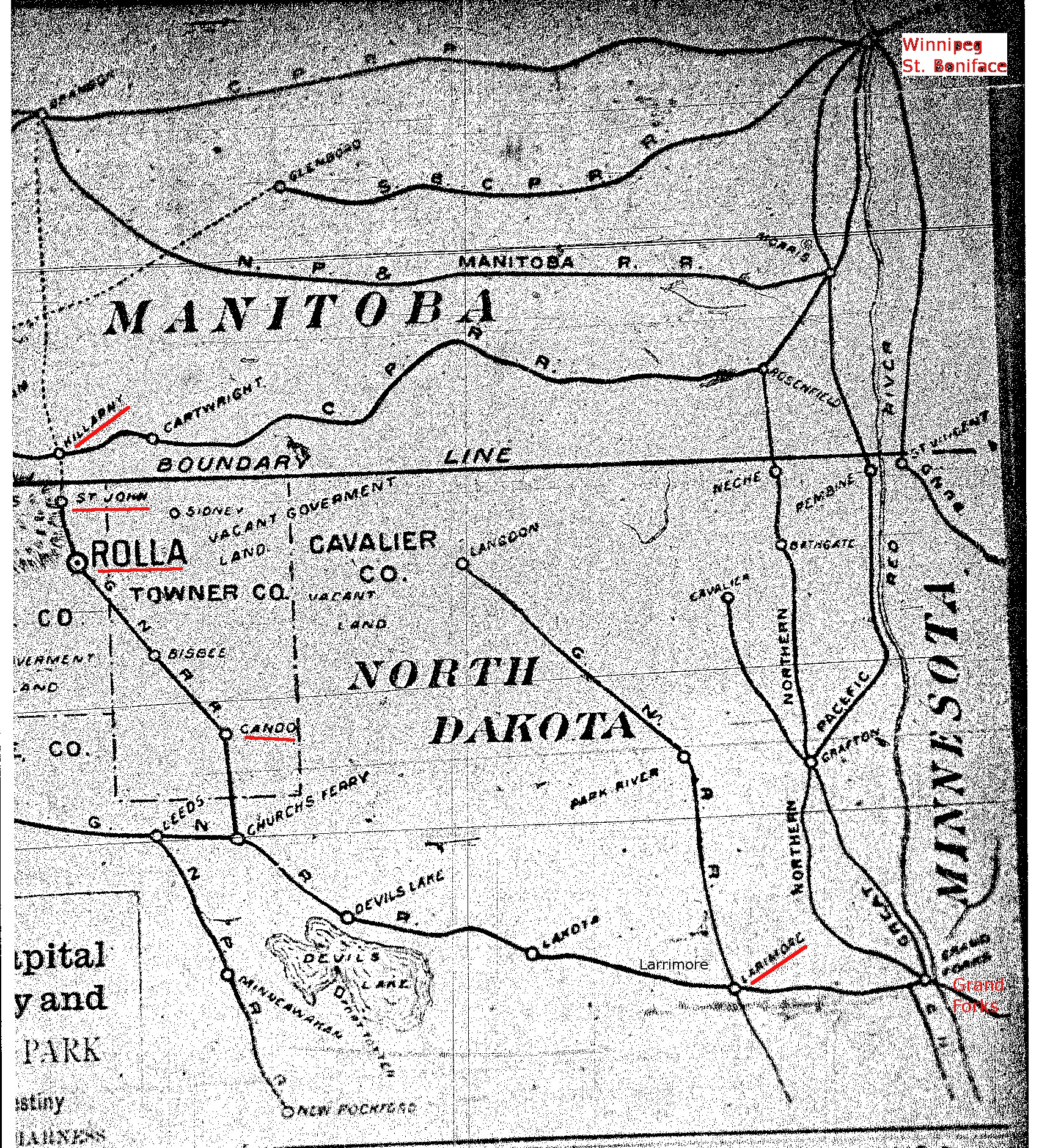 1892 Map of Portion of North Dakota