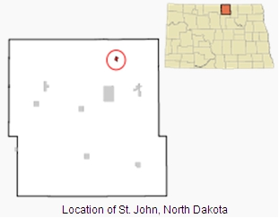Image of rough map showing the location of the town of St. John within the State of North Dakota