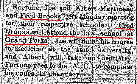 Sept 22 1910 Turtle Mountain Star newspaper item on Fred Brooks' Law School Plans