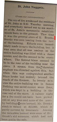 Dec. 1911 Turtle Mountain Star newspaper Report on BROOKS Store Fire