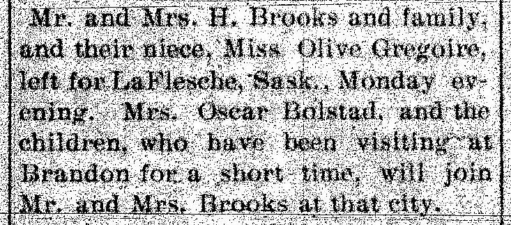Turtle Mountain Star newspaper item on Brooks family depart from St. John