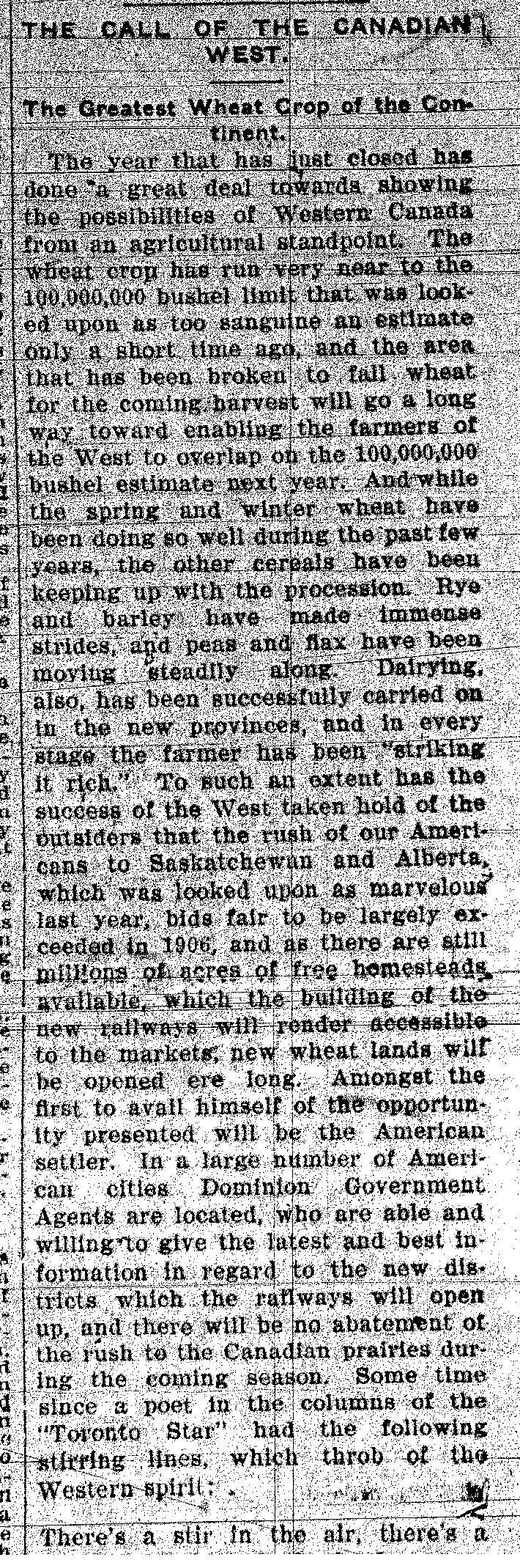 News Ad Late 1890s Early 1900s For Canadian West