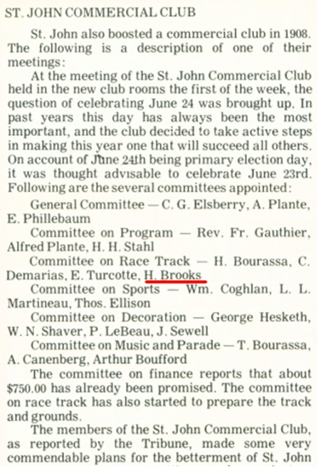 Article from St. John, City at the End of the Rainbow  regarding Hubert Brooks Commercial Club Involvement