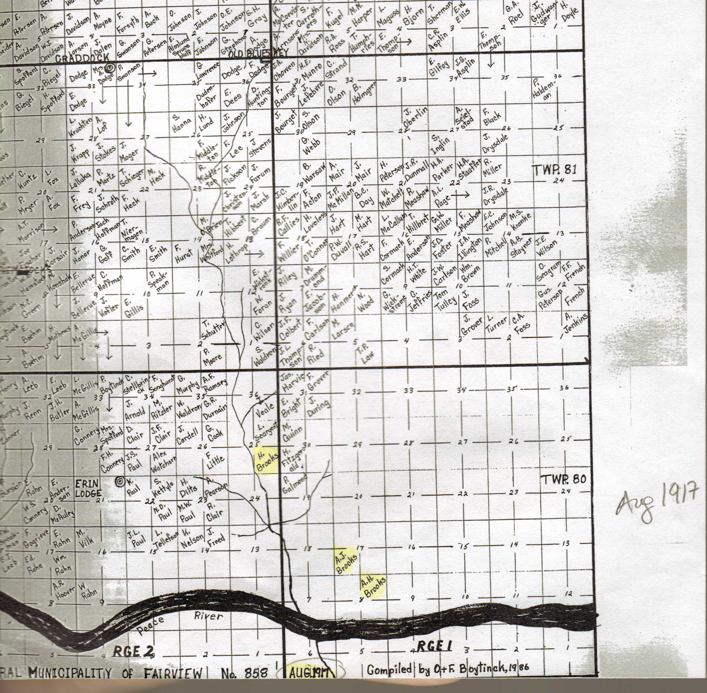 Homestead Map of 1917 for Peace River