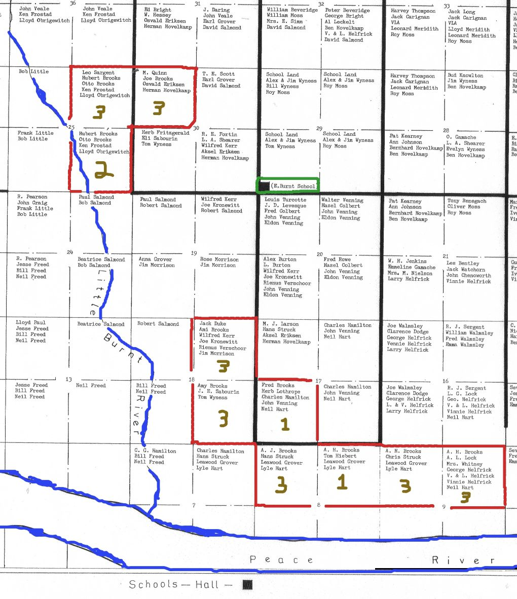 Peace River Homested Map Showing List of Quarter Section Historical Property Owners